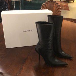 Balenciaga Black leather Pointy Knife boot